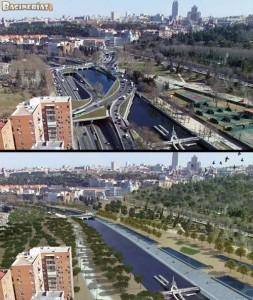 """Antes (arriba) y despues (abajo) de las obras """"Madrid Río"""""""