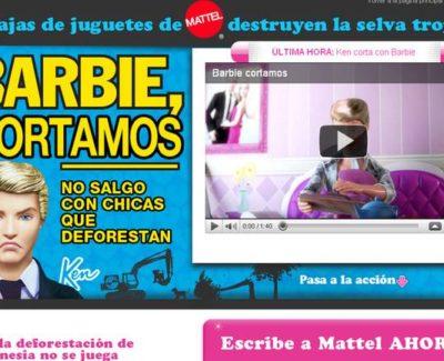 Las cajas de las muñecas Barbie destruyen la selva tropical. Campaña de GreenPeace