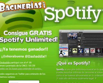Ganador del primer sorteo de Spotify Unlimited de Bacinerias.com