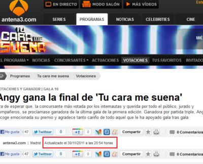 Antena 3 publica la ganadora de 'Tu cara me suena' horas antes del programa