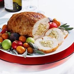 Pechuga de pollo rellena de calabacín y pasas