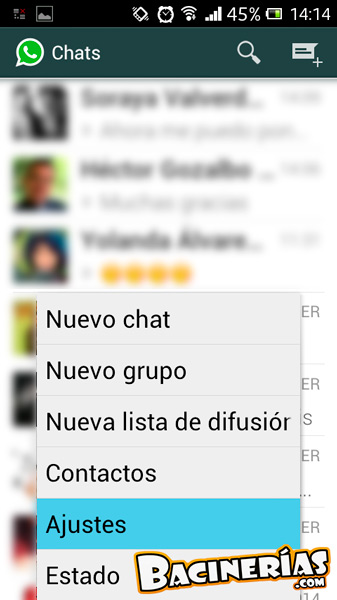 Ocultar el estado de whatsapp android